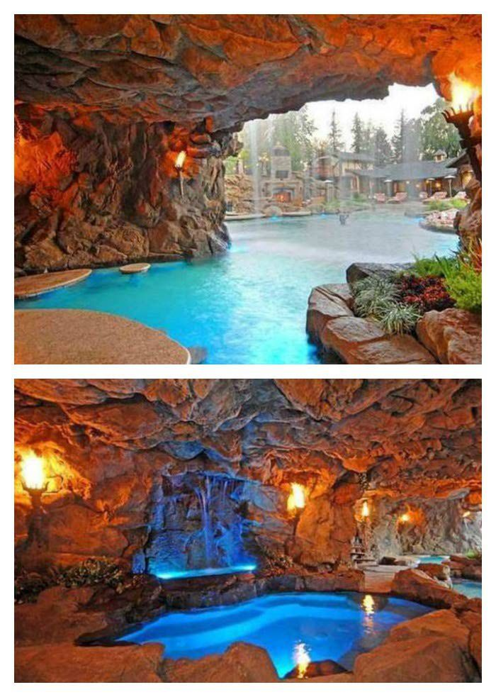 Drake's Disneylike Grotto Estate - Celebrity Homes and Pools. I've ALWAYS wanted a pool like the grotto in pirates of the Caribbean when you first splash down!