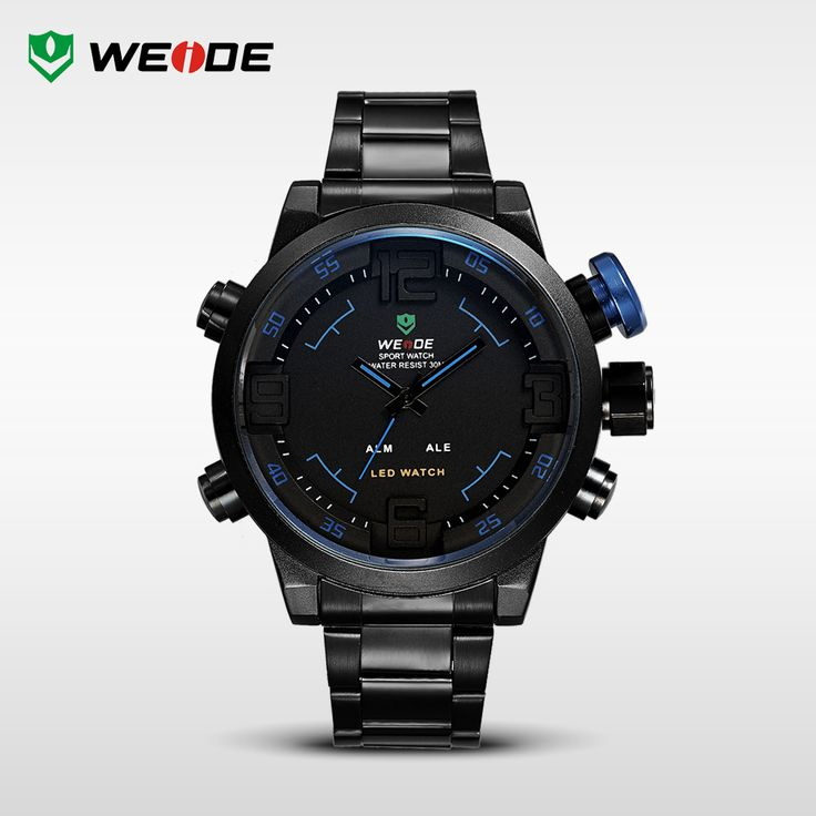 WEIDE LED Analog Digital Wrist Watch Men's Multifunctional Alarm Date Quartz Military Watches Black Stainless Full Steel For Men http://www.aliexpress.com/store/product/Top-Brand-WEIDE-Men-s-Military-Watches-Men-Luxury-Brand-Full-Steel-Quartz-Watch-LED-Display/910933_1866365676.html
