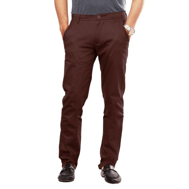 MENS SLEEK REGULAR FIT BROWN TROUSER