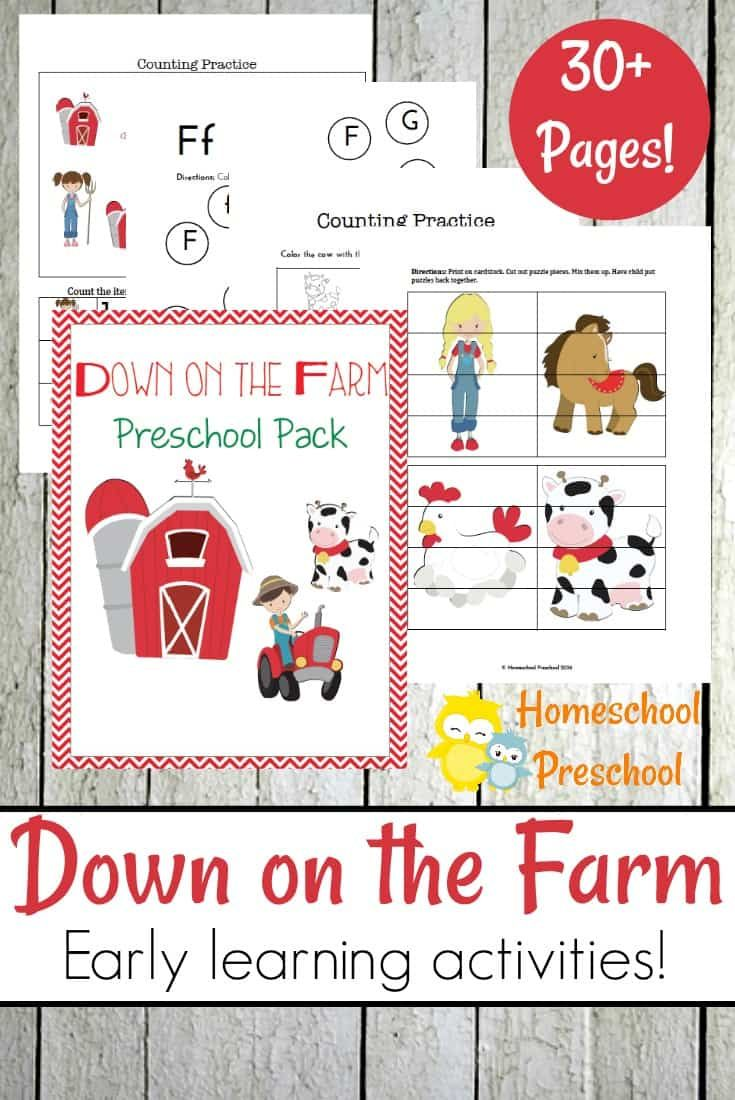 If your little ones are fascinated by farm animals, they'll love these printable preschool farm activities. Focus on numbers and literacy with these pages. via @homeschlprek