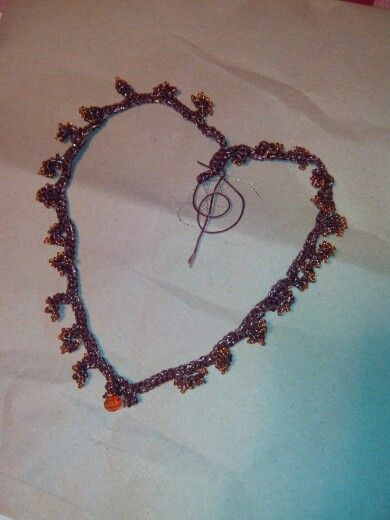 cotton crochet necklace made up with coral beads by Sylvie