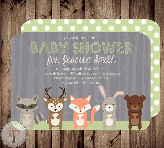 Etsy invitation - for woodland animals baby shower