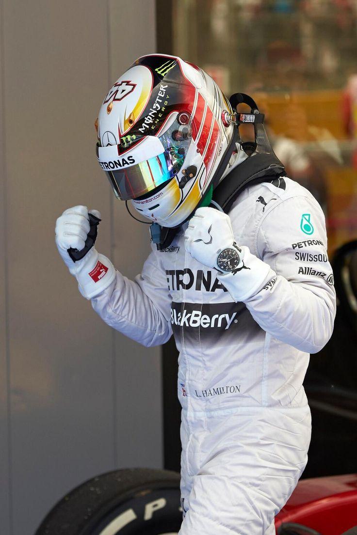 Lewis Hamilton celebrating after qualifying - 2014 Spanish GP