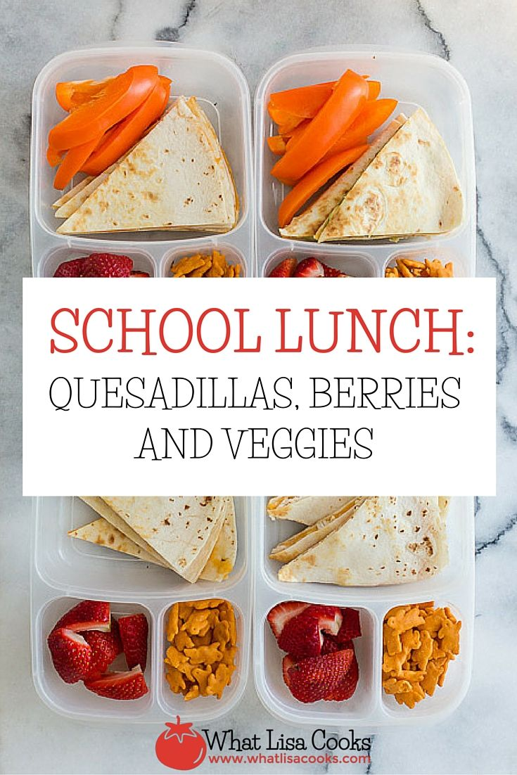 Hooray for finally getting all kids off to school and getting to the store  - packing school lunches is so much easier when you have lots of choices of  fresh food in the house!  A quick and easy lunch today, made so much easier because I finally made it  out shopping and have lots of fresh stuff to choose from.  Simple quesadillas today: Flour tortillas with melted shredded cheese. Two  are just cheese, one has chicken, and one has avocado. On the side they  each have a veggie - two have…