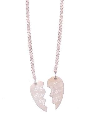 {Best F*&^ing Friends necklace, old school broken heart charm}
