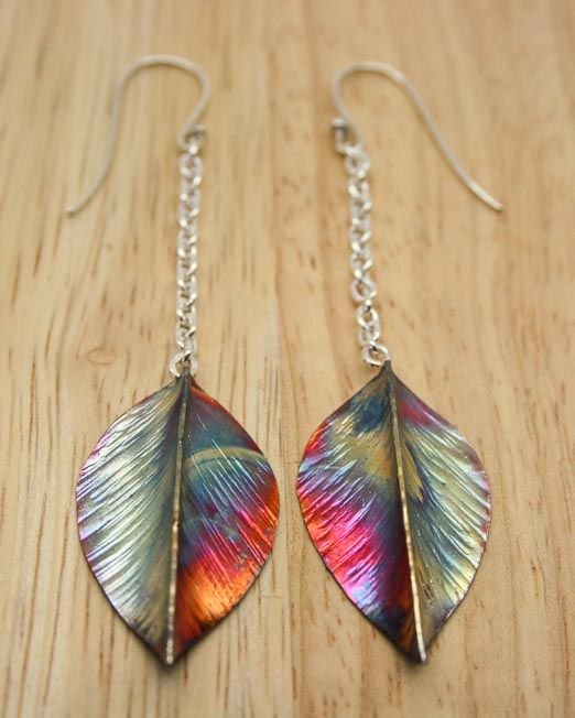 Copper and silver leaf drop earrings