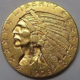 Indian head gold coin $5: