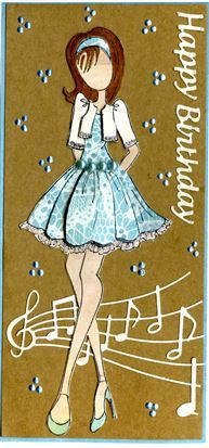 Prima Mixed Media Cling Stamp - Doll With Bolero Sweater, Memory Box Party Music, Authentique papers, Elizabeth Craft Design Happy Birthday die.