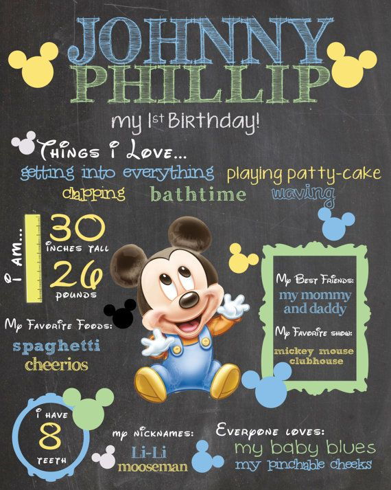Baby Mickey Chalkboard Sign! $12.50 on Etsy and SO cute! Pinning now for party planning later.