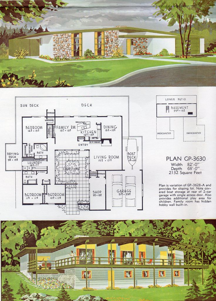 578 best midcentury architectural plans images on pinterest floor
