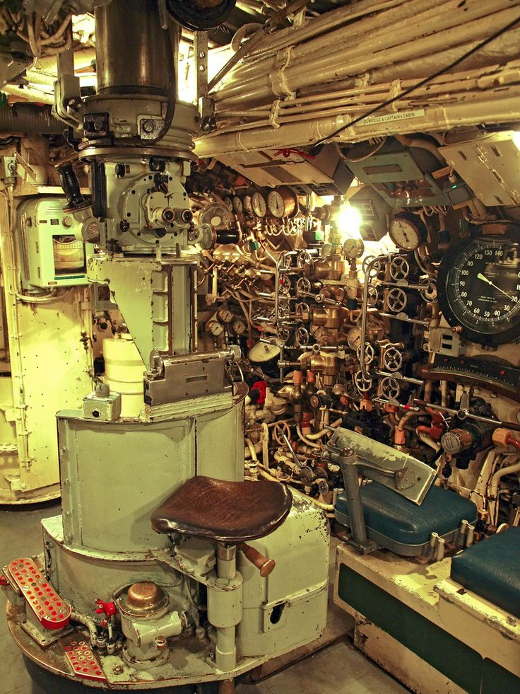 The navigation periscope in the control room of the WWII ...