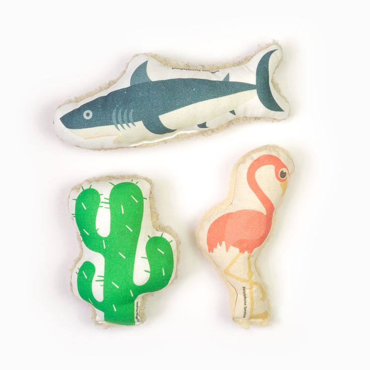 Silver Lake Dog Toy Bundle | Save £6 Vintage Shark, Flamingo and Cactus. Purplebone's very own canvas collection of dog toys now available as a bundle.
