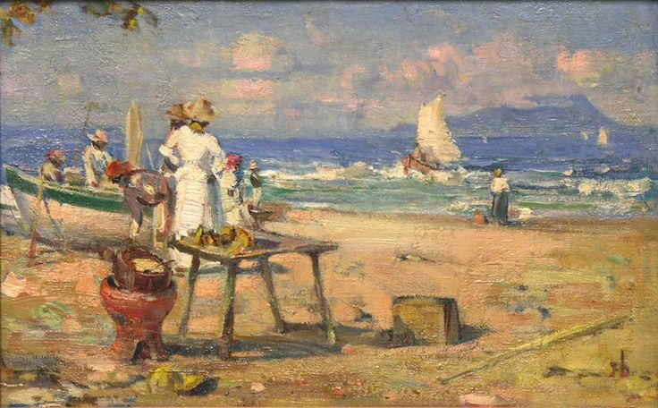 'Beach Scene' (1913) by Franklin Brownell (1857-1946)