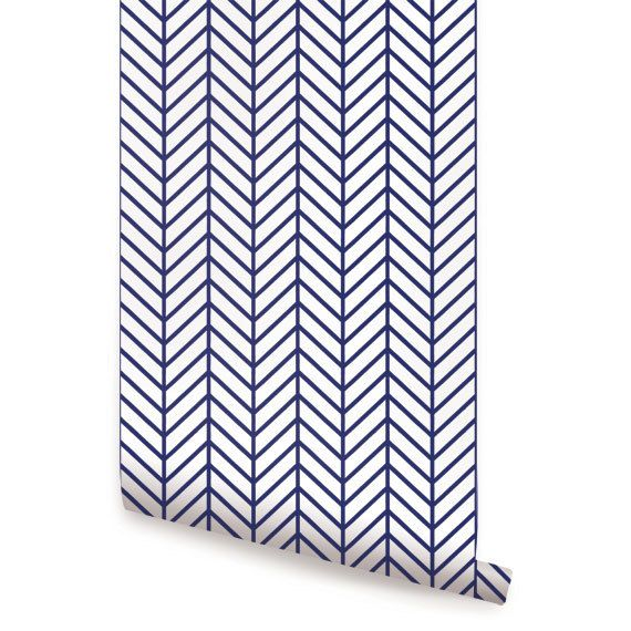 Herringbone Line Navy peel & stick fabric wallpaper. This re-positionable wallpaper is designed and made in our studios in New Jersey. The designs