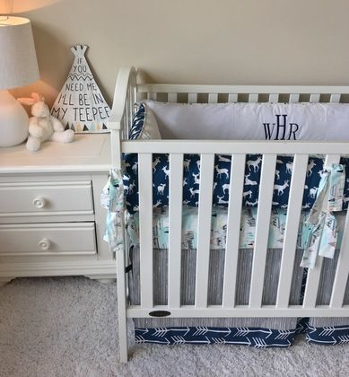 Grey Scribble and Navy Arrows Tailored Crib Skirt