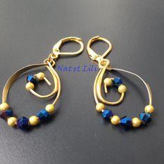 Torsion doré perles granité doré et perles à facettes de bohème bleue électrique