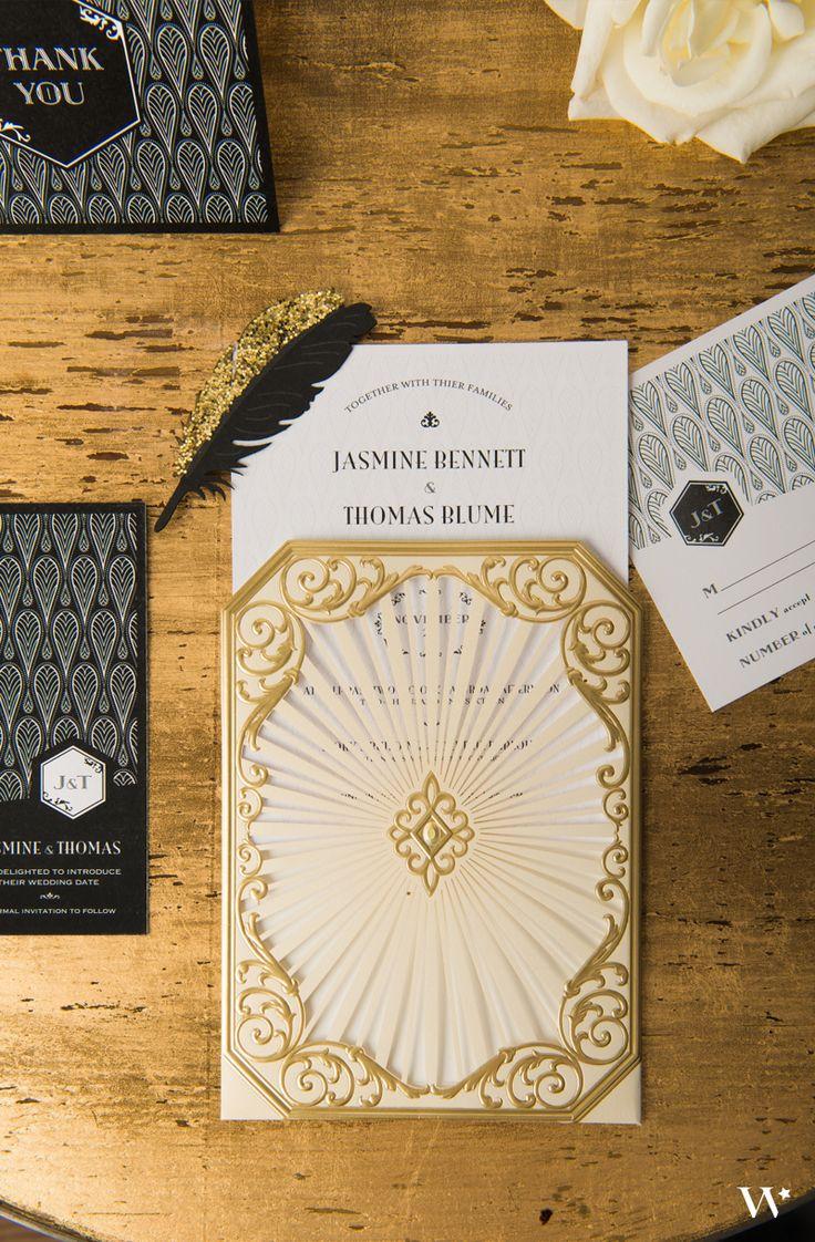 Art Deco Wedding Stationery Black and Gold