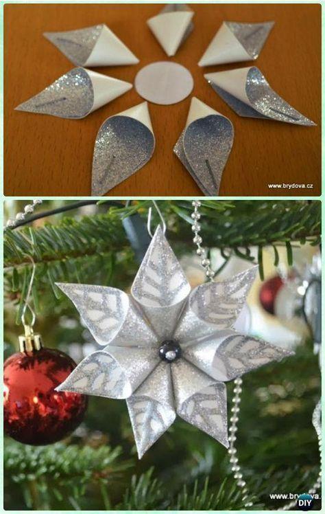 DIY Card Stock Paper Flower Snowflake Ornament Instruction- DIY Paper  Christmas Tree Orn - DIY Paper Christmas Tree Ornament Craft Ideas Instructions Paper