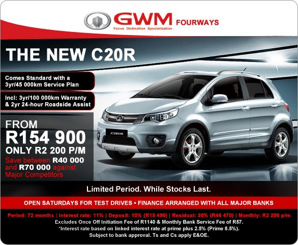 The feature packed GWM C20R is now available for R2 200pm. Includes 3 year/ 45 000km Service Plan and 3 year/ 100 000 km Warranty.