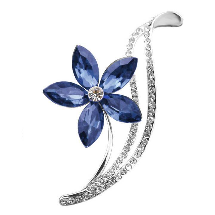 3 색상 라인 석 꽃 브로치 심플한 디자인 패션 보석 웨딩 핀 브로치 고품질 귀여운