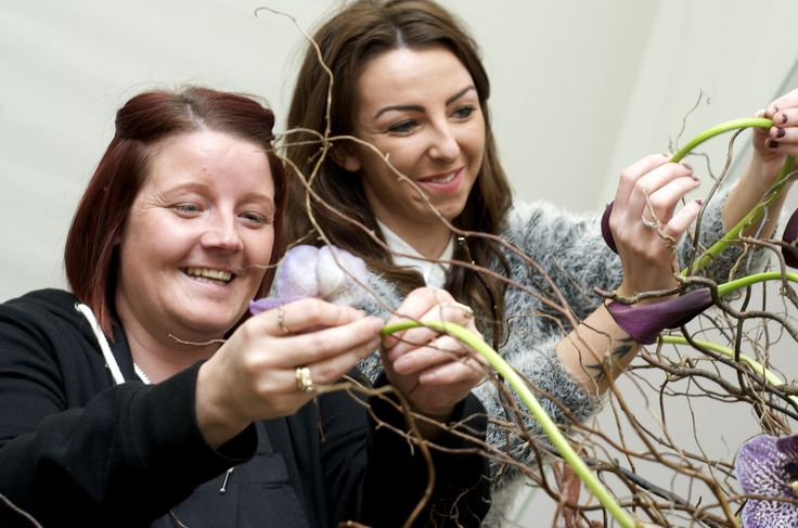 Floristry students preparing the award winning 'Medusa' display