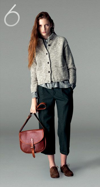 slouchy, masculine, evergreen pants, nubby chunky knit cardigan sweater, oxford shoes, red hair from: margaret howell
