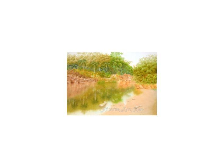 """Original Pastel drawing """"Garden view"""""""