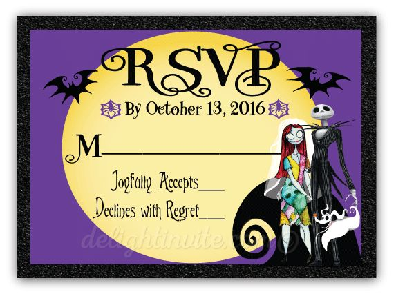 Nightmare Before Christmas Wedding RSVP Cards, expertly printed on gorgeous metallic shimmer paper and artfully hand-mounted onto beautiful metallic black card stock, this NBC reply card is perfect for your upcoming gothic wedding!