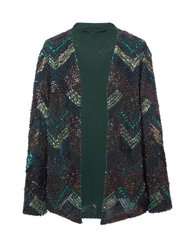 SEQUINNED AND EMBROIDERED CARDIGAN
