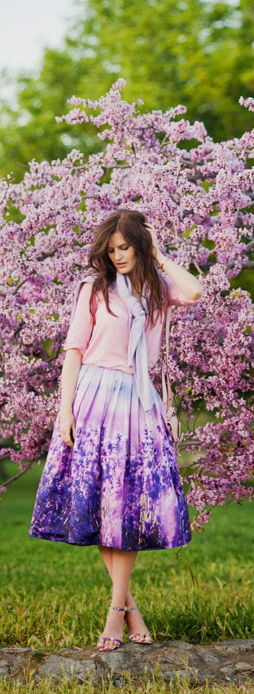 Endless Lavender Romance Pleated Midi Skirt @viktoriyasener