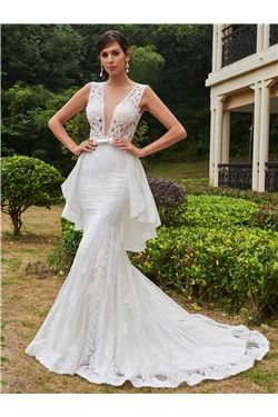 Sashes/Ribbons Floor-Length Natural Hourglass Sleeveless Court Spring Fall Wedding Dress