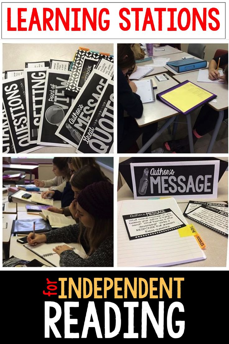 LEARNING STATIONS FOR INDEPENDENT READING: Use learning stations in middle and high school English when students are reading their own novels.