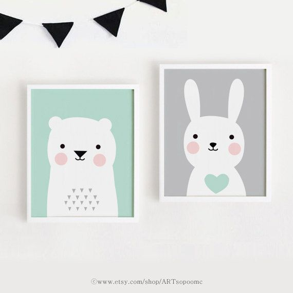 Printable Nursery Art Set Of 2 Poster Baby Room Wall Kids Decor Mint And Gray Bear Bunny Print 8x10 A4 A3 40x50 Instant