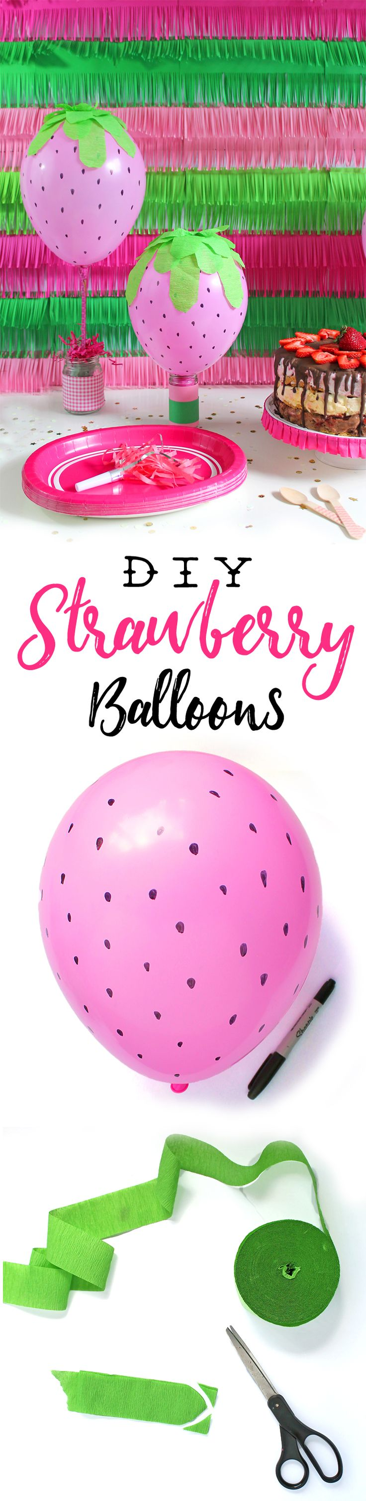 DIY Strawberry Balloon Party Decorations