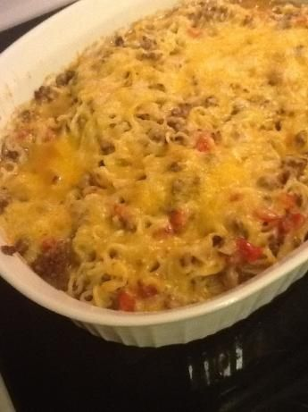 Ramen Noodle Casserole ~ Not exactly Gourmet Fare but a tasty idea when money's tight ....