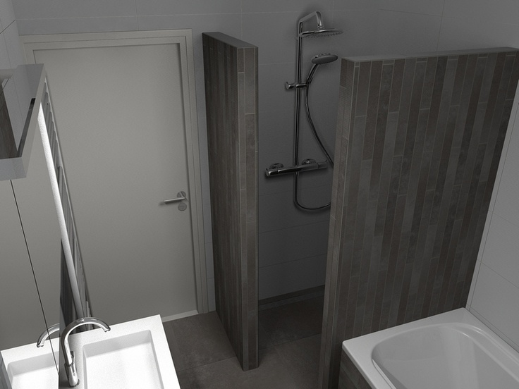 Tegels witte badkamer - Groene metro tegels ...