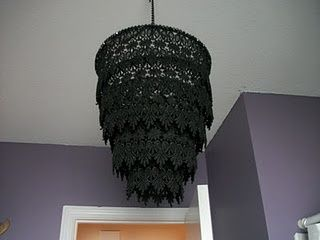 DIY chandeliers made from lace.