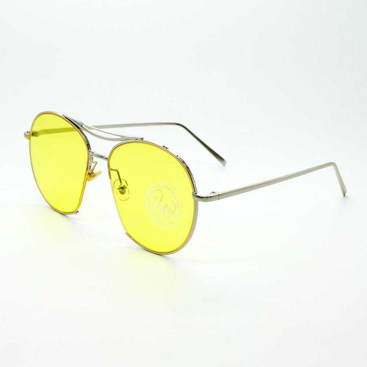 Retro Rounded Aviator Sunglass-Yellow