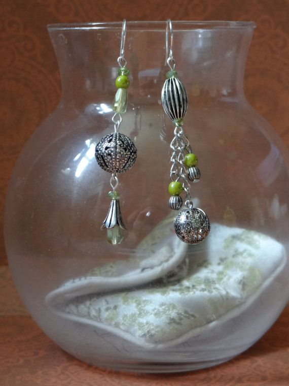 Beaded Green and Silver Mis-Match Asymmetric Earrings