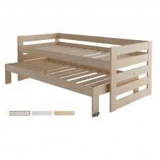Cama compacta de 3 pisos en madera pulida - Lamas