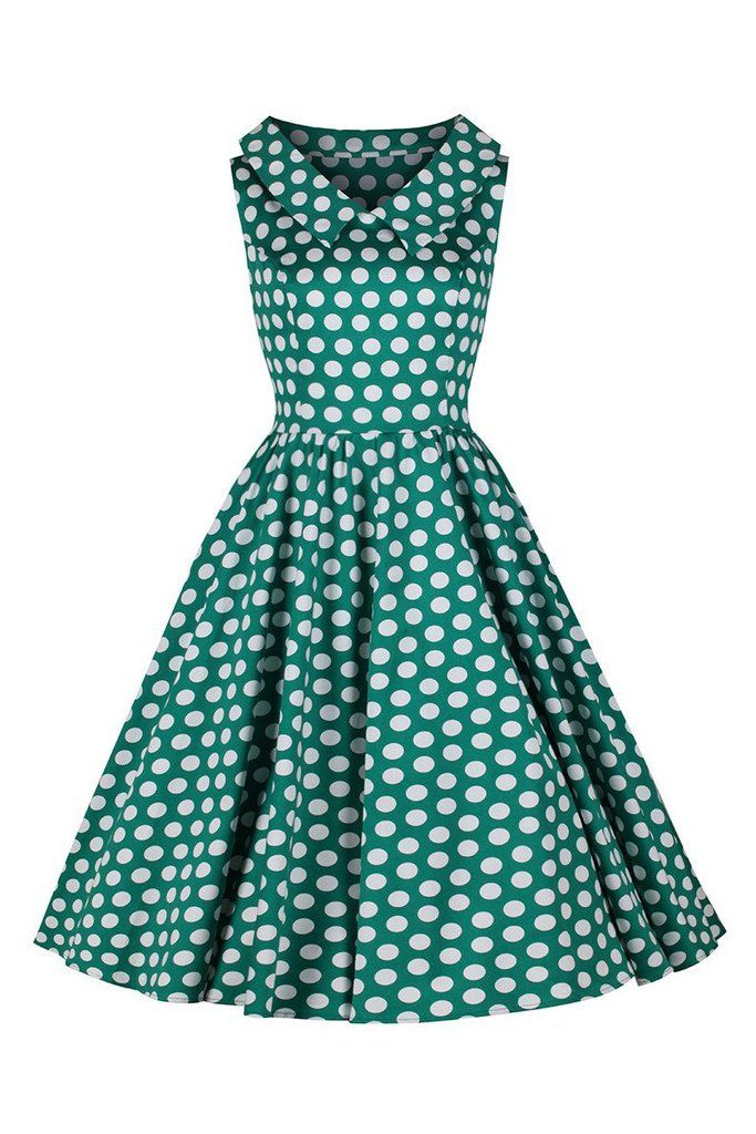 Jade Green and White Polka Dot Rockabilly 50s Swing Tea Dress