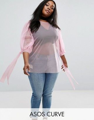 Shop Now - >  https://api.shopstyle.com/action/apiVisitRetailer?id=630249607&pid=uid6996-25233114-59 ASOS Curve ASOS CURVE Top in Mesh with Bow Sleeves  ...