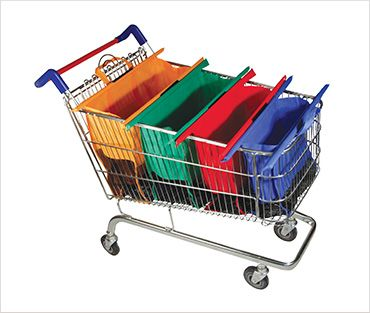 Packingsorted NZA: SIMPLE COLOUR CODED SYSTEM OF 4 REUSABLE BAGS THAT SIT UPRIGHT IN ALL STANDARD SHOPPING TROLLIES.