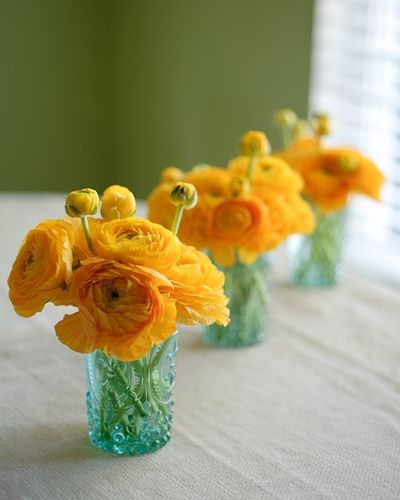 teal and yellowYellow Flowers, Blue Mason Jars, Blue And Yellow Centerpieces, Yellow Weddings, Colors Combos, Ranunculus, Color Combos, Yellow Wedding Flowers, Jelly Jars