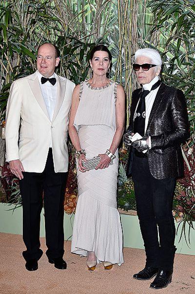 Князь Альбер, принцесса Каролина и Карл Лагерфельд