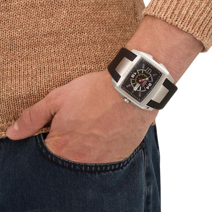Diesel mens black leather analog quartz watches DZ1215 #Diesel #Watches #menswear #Analog #Quartz #wristwatch