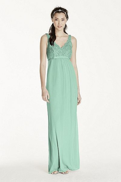 MORE COLORS Coming Soon! - Maternity Sleeveless Long Corded Lace Mesh Dress Style F17087 In Store $179.95  davidsbridal.com