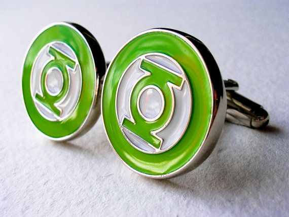 Green Lantern Cuff Links  Stainless steel by LondonDesign on Etsy, £10.99