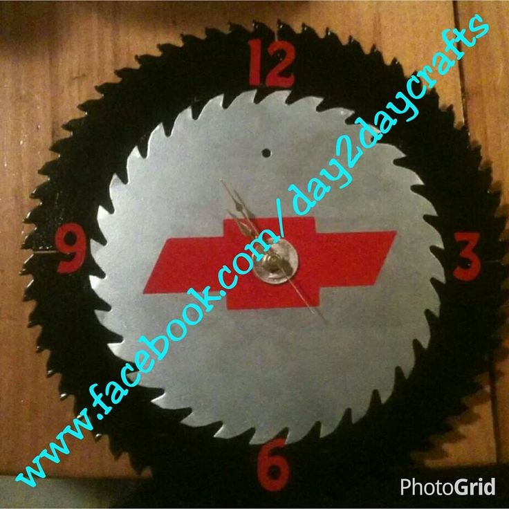 Double Saw Blade clock with Chevy logo in the middle using vinyl
