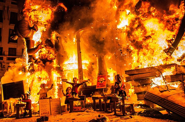 The last day of the Las Fallas festival in Valencia, Spain. The festival celebrates the arrival of spring with fireworks, fiestas and bonfires made from large puppets, known as ninots